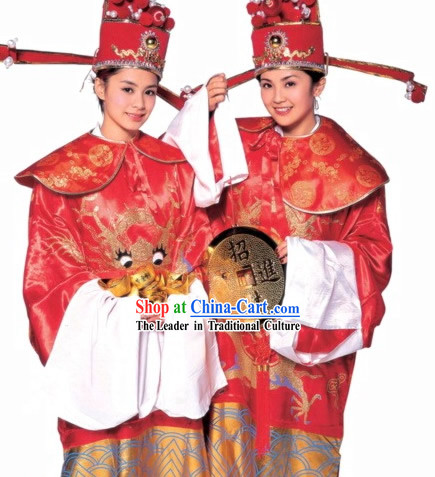 Traditional Chinese Legend Lunar New Year Cai Shen Costumes and Hat