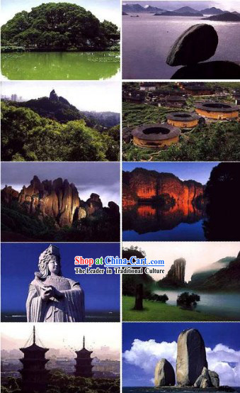 China Classic Fujian Scene Postcards Set (10 Pieces)