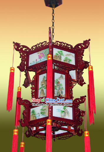 Large Chinese Hand Made and Painted Landscape Two Layers Palace Lantern