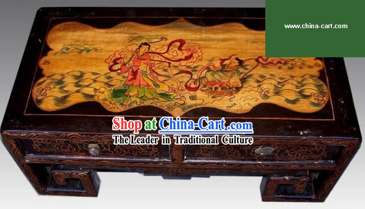 Chinese Black Coloured Painting Double Drawers Table