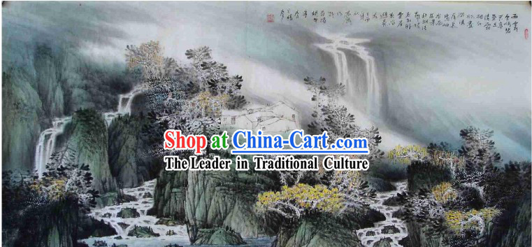 Large Traditional Chinese Painting by Mo Gaoquan-Rainy Waterfall