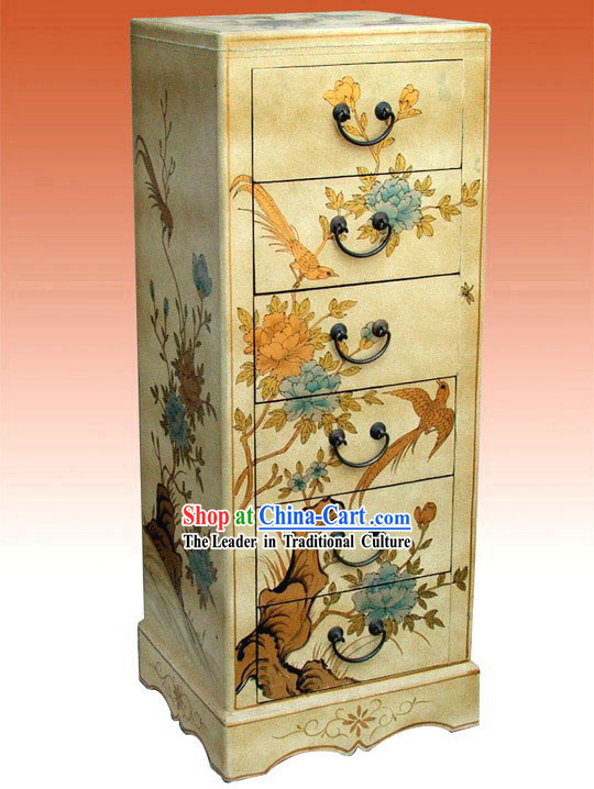 Chinese Hand Made Grey Wood Document Cabinet