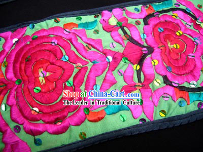 Chinese Delicate Hand Embroidered Long and Wide Flowery Belt for Woman