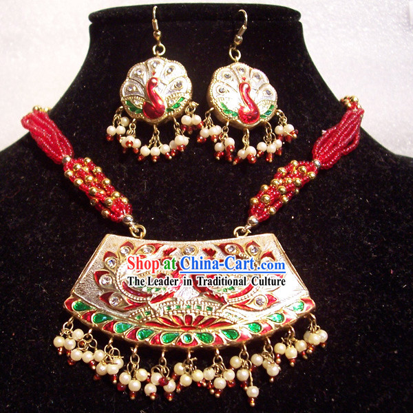 Indian Fashion Jewelry Suit-Lucky Red Peacock Princess
