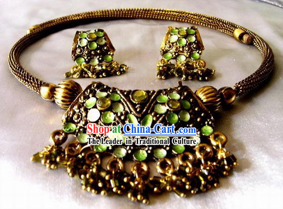 Indian Stunning Unique Necklace and Earrings Set