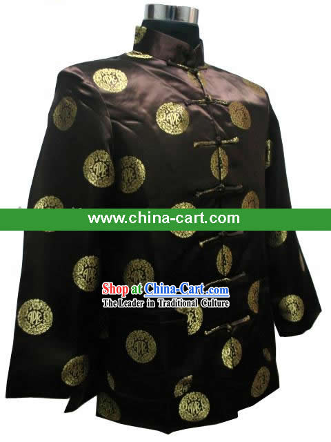 Chinese Classical Coffee Blouse for Man