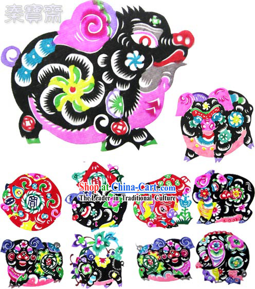Chinese Paper Cuts-Lucky Pigs(10 pieces set)