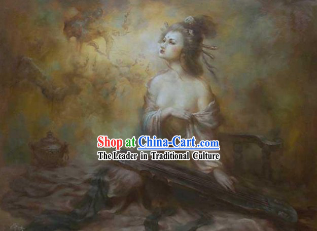 Rare Chinese Handicraft Embroidery Artwork-Ancient Palace Beauty