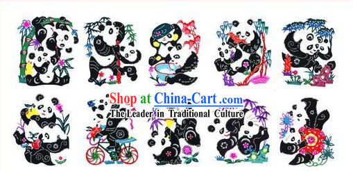 Chinese Paper Cuts Classics-Lovely Pandas (10 pieces set)