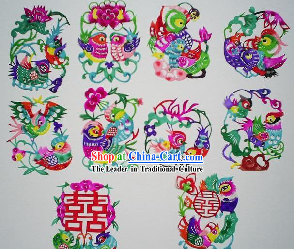 Chinese Paper Cuts Classics-Mandarin Ducks (10 pieces set)