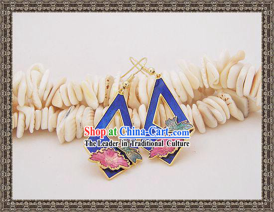 Chinese Ancient Mandarin Style Cloisonne Earrings-Deep Sea