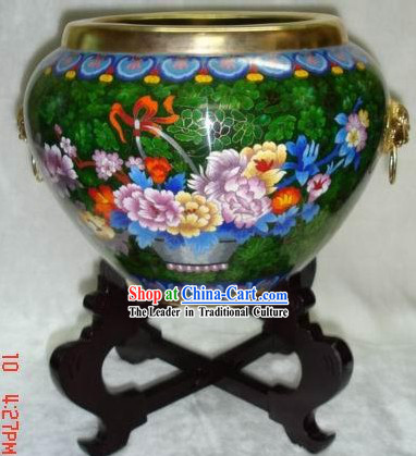 Chinese Cloisonne Goldfish Bowl-Pefect World