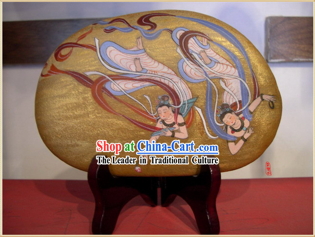 Chinese Dunhuang Hand Painted Cobblestone Mural Art-Dancing Fairies