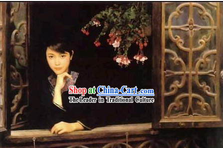 Chinese Wall Oil Paintings - Traditional Beauty in Black