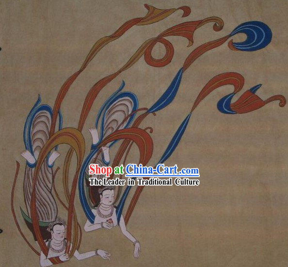 Chinese Dunhuang Fresto Painting-Flying Fairies