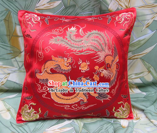 Chinese Lucky Red Dragon and Phoenix Cushion Covering