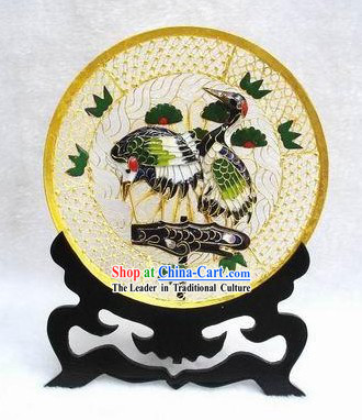 Chinese Classic Cloisonne Crane and Pine Plate-Gift For Old Man