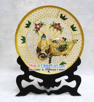 Chinese Classic Cloisonne Mandarin Ducks Plate-Gift For Lovers
