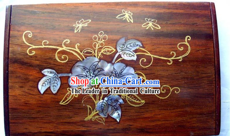 Chinese Hand Carved Natural Rose Wood Cardcase-Morning Glory