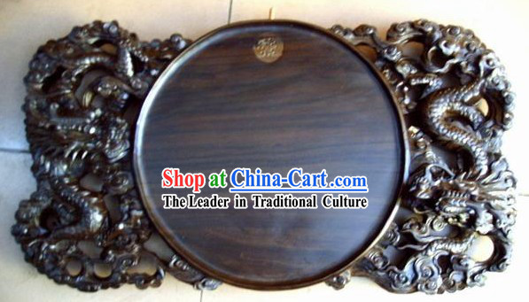 Chinese Hand Carved Ebony Wood Tea Tray-Double Dragons Playing Ball