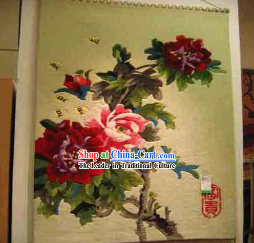 Art Decoration Chinese 100% Wool Hand Embroidered Tapestry (85*160cm)