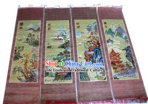 Art Decoration Chinese Hand Made Thick Natural Silk Hanging Rug(35*160cm)