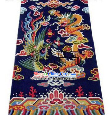 Art Decoration Chinese Hand Made Wool Dragon and Phoenix Rug(180*93cm)