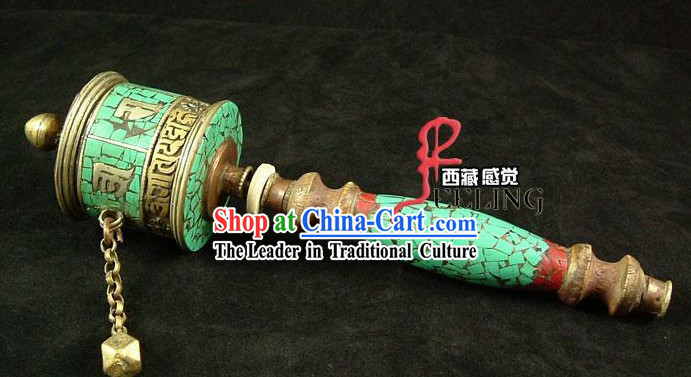 Tibetan Stunning Hand Made Kallaite Prayer Wheel