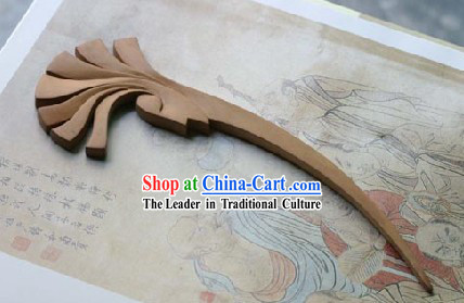 Hand Carved Chinese Traditional Walnut Hair Pin _Hairpin_- Missing