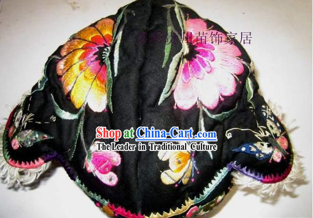 Chinese Made to Order Miao Minority Silk Thread Hand Embroidery Hat-Tiger Head
