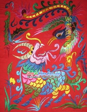 Chinese Miao Minority Silk Thread Hand Embroidery Art-Dragon and Phoenix