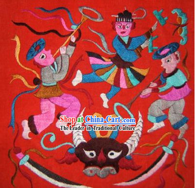Chinese Miao Minority Silk Thread Hand Embroidery Art-Celebrating Harvest