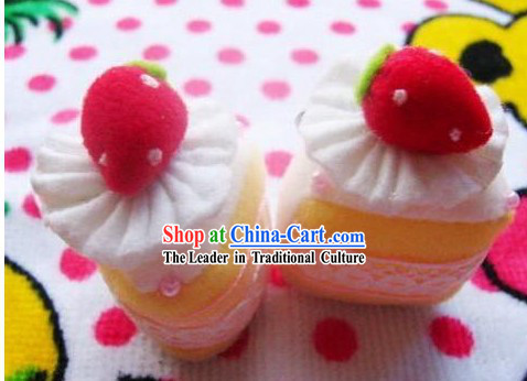 Cute Hand Made Velvet Pendant Strawberry Cake