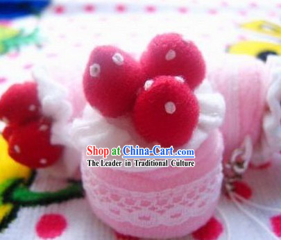 Cute Hand Made Velvet Pendant Strawberry Cake 2
