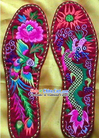 Chinese Hand Embroidery Insole-Dragon and Phoenix