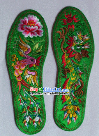 Chinese Hand Embroidery Insole-Dragon and Phoenix Love 1