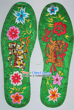 Chinese Hand Embroidery Insole-Dragon and Phoenix Love 2