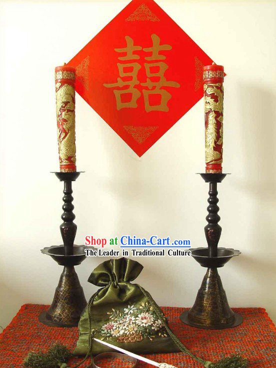 Chinese Wedding Copper Candlestick and Dragon Phoenix Candles
