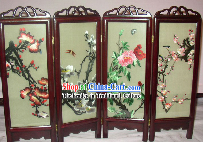 Chinese Embroidery Folding Screen Handicraft-Four Seaons