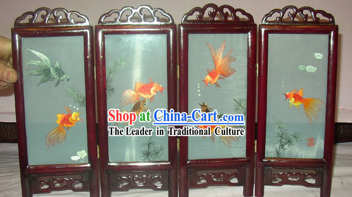 Chinese Embroidery Folding Screen Handicraft-Goldfishes