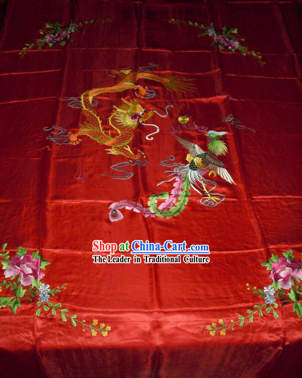 Chinese Hand Embroidery Bedcover-Dragon and Phoenix