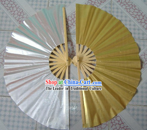 Golden and Silver Tai Chi Fans Pair