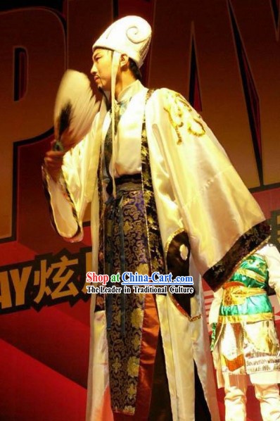 Chinese Traditional Zhu Ge Liang Kong Ming Costume Complete Set