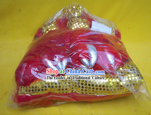 Top Quality Red Long Wool Gold Sequins Lion Dance Body Costumes Pants Claws