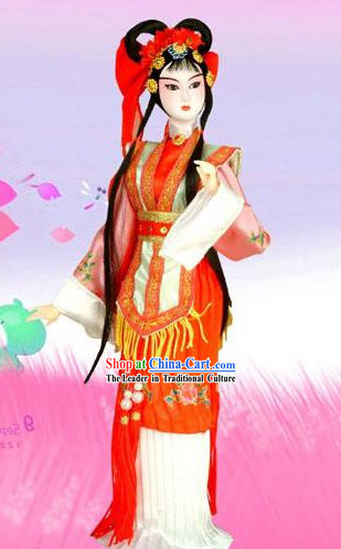 Handmade Peking Silk Figurine Doll - Hong Niang of The Romance of the Western Chamber