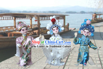Handmade Peking Silk Figurine Doll - Madame White Snake (3 pieces set)