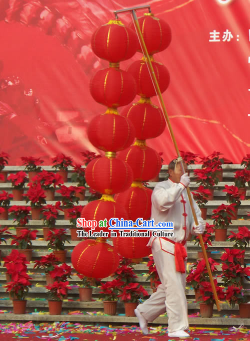 Happy Festival Celebration 12 Lucky Red Lanterns Set