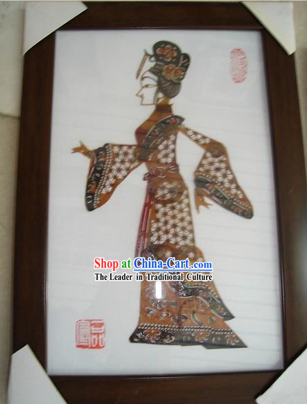 Large Traditional Chinese Hand Carved Shadow Play - Hard Working Ancient Lady