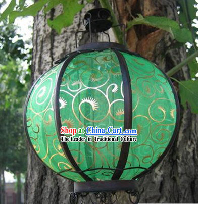 Chinese Ancient Style Silk Iron Lantern - Phoenix Tail