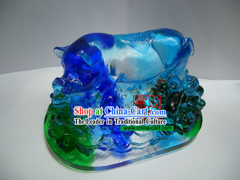 Chinese Classic Ancient Method Colored Glazed-Laughing Pig
